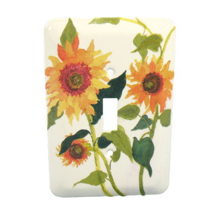 Light Switchplate Cover Unique Decor (Leviton Sunflowers Painted Metal Light Switch Wallplate Cover 89001-SFL)