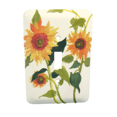 Hand Painted Wall Plate (Leviton Sunflowers Painted Metal Light Switch Wallplate Cover 89001-SFL )