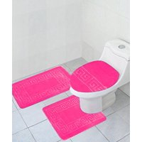 "3 Piece Bath Rug Set Pattern Bathroom Rug (20""x32"")/large Contour Mat (20""x20"") with Lid Cover (Burgundy)"