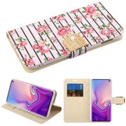 "Samsung Galaxy S10e (5.8"") Phone Case Leather Wallet Flip Folio Protective Cover Credit Card Fold Stylish Stand Cover Pink Roses Flowers Diamante Bling Diamonds Wallet Case for Samsung Galaxy S10E"