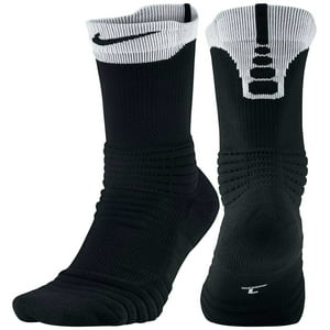 Nike Elite Versatility Crew Basketball Socks - Black|White|Black - S