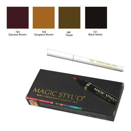 Magic Styl'o Semi Permanent Makeup Pen Set (Espresso Brown, Gorgeous Brown, Taupe, & Black Velvet) with Remover (Permanent Ink Remover)