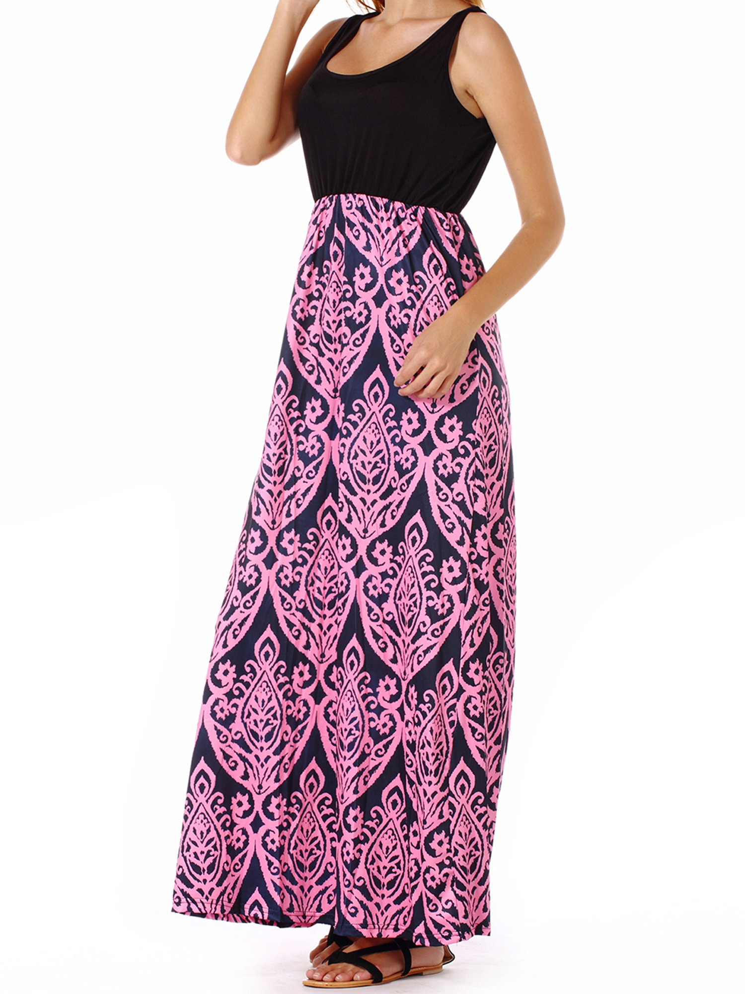 Womens Casual Long Dresses Boho Butterfly Printed V Neck Sleeveless A-line Swing Maxi Dress with Pockets Summer Holiday Beach Party Sundress Chic Graphic Tank Dress Plus Size