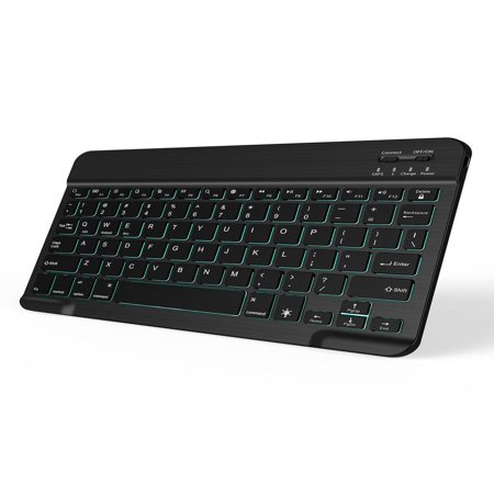 Jelly Comb Backlit 7-Colors Slim Portable W ireless B luetooth 3.0 Keyboard for iOS, Android and Windows T ablets