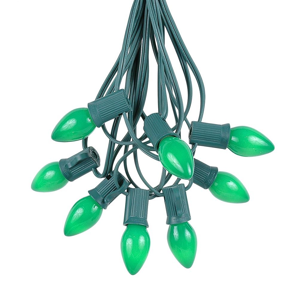 Novelty Lights C7 Ceramic Christmas Lights Set - Indoor/Outdoor Christmas Light String - Christmas Tree Lights – Opaque Christmas Bulbs – Outdoor String Lights - Green Wire - 25 Foot