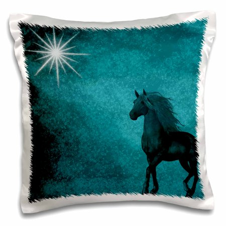 3dRose Beautiful Horse aqua grunge sky, Pillow Case, 16 by 1