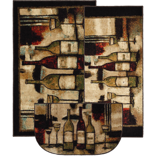 Mohawk Wine And Glasses 3-Piece Printed Kitchen Rug Set