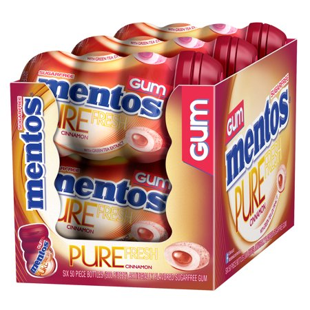 Mentos Pure Fresh Sugar-Free Chewing Gum with Xylitol, Cinnamon, 50 Piece Bottle (Pack of 6) Xylitol Dental Chewing Gum