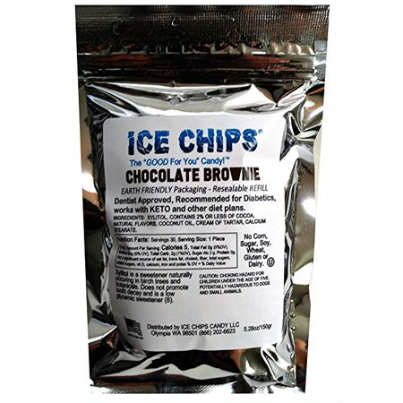 Low Fat Chocolate Candy - ICE CHIPS Birchwood Xylitol Candy in Large 5.28 oz Resealable Pouch; Low Carb & Gluten Free (Chocolate Brownie)