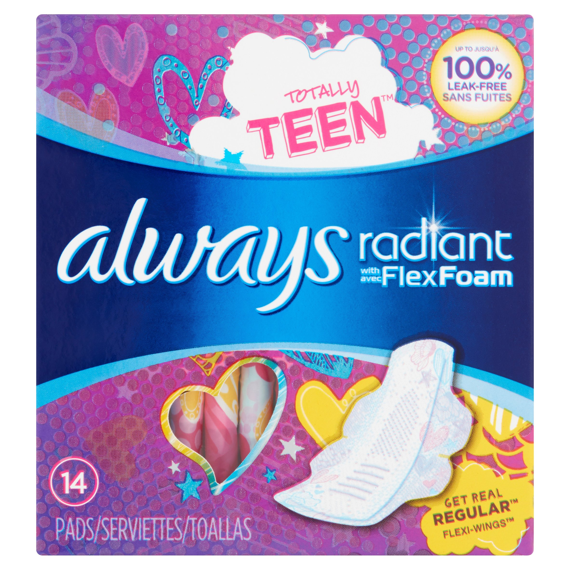 Always Radiant Teen Regular Pads with Flexi-Wings, (Choose your Count)