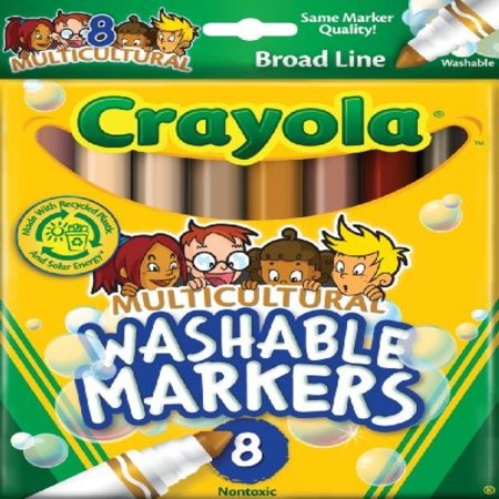 Crayola  Multicultural Colors  Broad Line Washable Markers  Art Tools  8 Ct