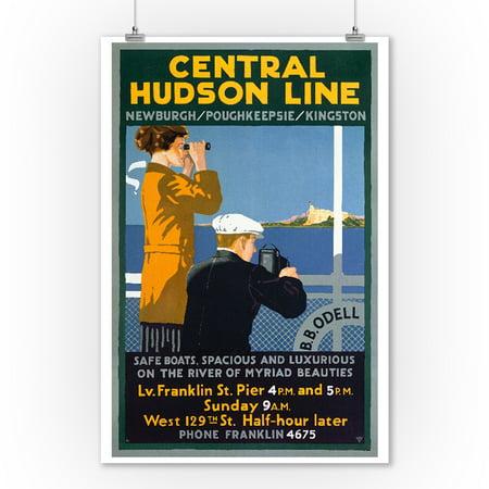 Central Hudson Line Vintage Poster USA (9x12 Art Print, Wall Decor Travel Poster)