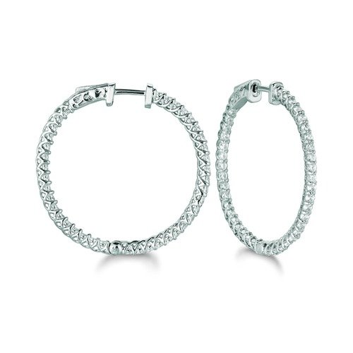 Juliette Collection Diamond 2.52 Carat Lucida Prong Round Hoop Earring