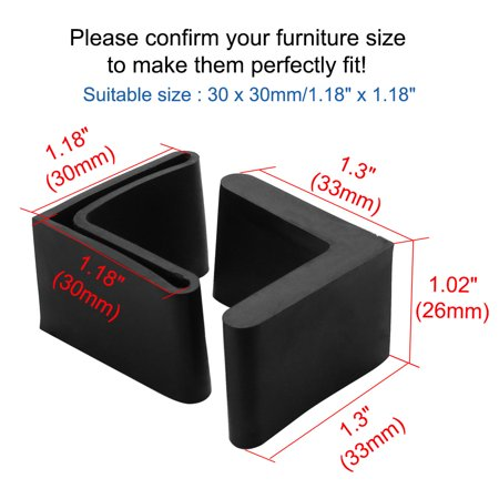 Furniture Angle Iron Foot Pads L Shaped Rubber Leg Covers 30 x 30mm 8 Pcs Black - image 1 de 7