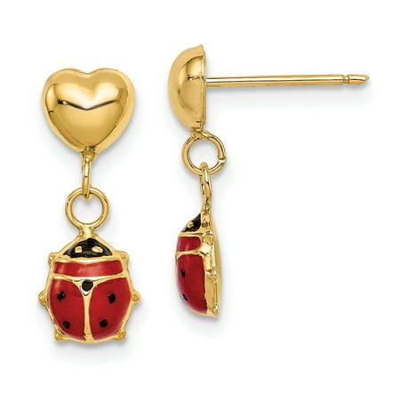 14K Yellow Gold Madi K Heart & Enameled Ladybug Dangle Post -