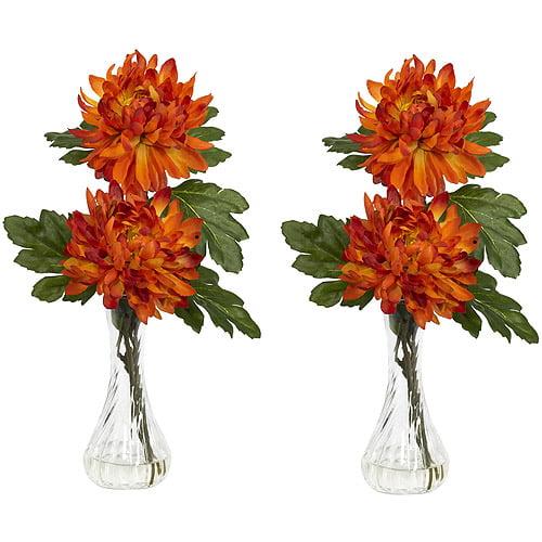 Nearly Natural Mum Silk Flower Arrangement with Bud Vase, Orange, 2pc
