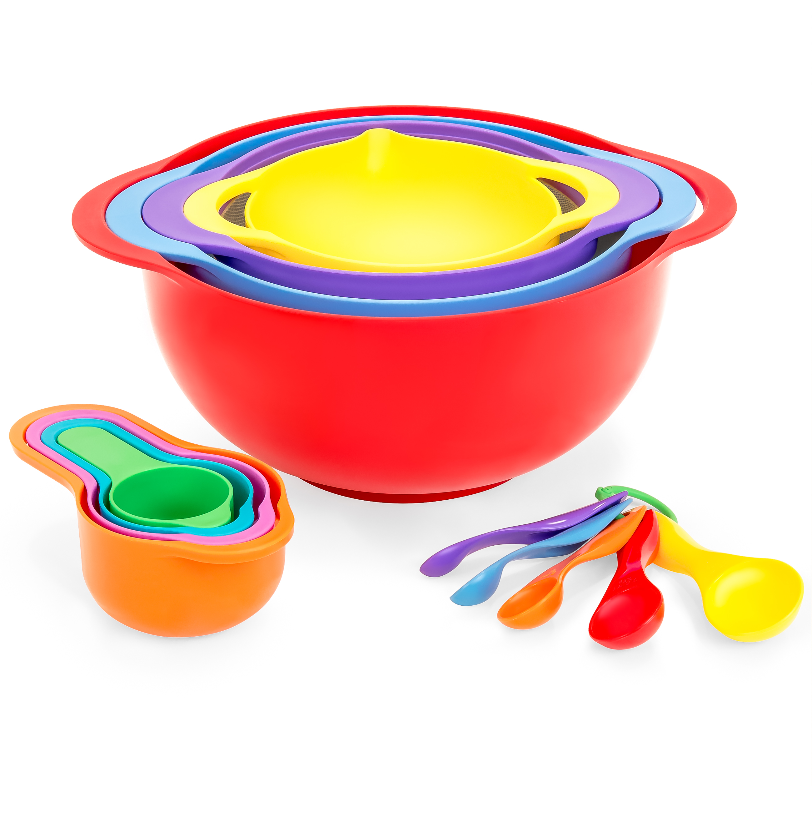 Best Choice Products 13-Piece BPA-Free Mixing Bowl Set w/ Stackable Measuring Cups & Colander - Multicolor