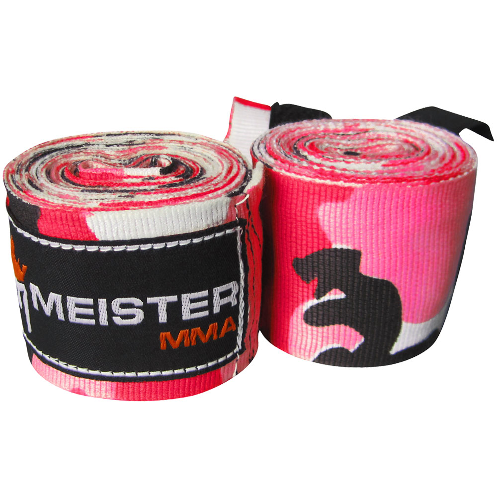 "Meister 180"" Semi-Elastic MMA Hand Wraps (Pair) - Camo Pink"