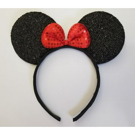 LWS LA Wholesale Store  1 Minnie Mouse Black Ear Red Sequin Bow headbands Party Favor Costume mickey (Pig Ear Headband)