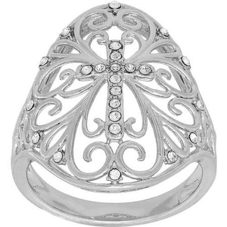 c61a003a9 simply silver - Swarovski Crystal Sterling Silver Cross with Filigree  Ornate Ring, Size 7 - Walmart.com