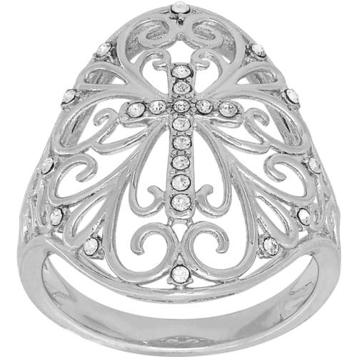 Simply Silver Swarovski Crystal Sterling Silver Cross with Filigree Ornate Ring, Size 7