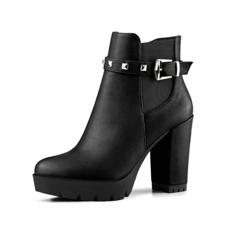 Black Platform Boots Cheap (Women's Rivet Decor Platform Block Heel Ankle Boots Black (Size)