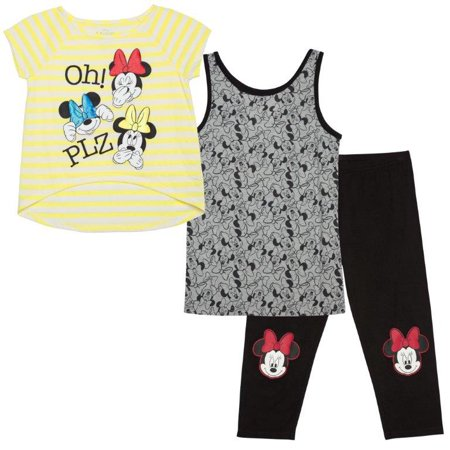 Disney Minnie Mouse Girls' Shirt, Tank, and Legging 3-Piece Set