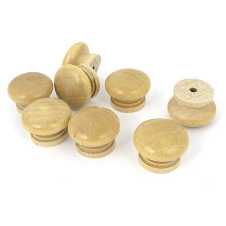 Unique Bargains Replacement Wood Color Round Shape Handle Wood Drawer Knobs 8 Pcs