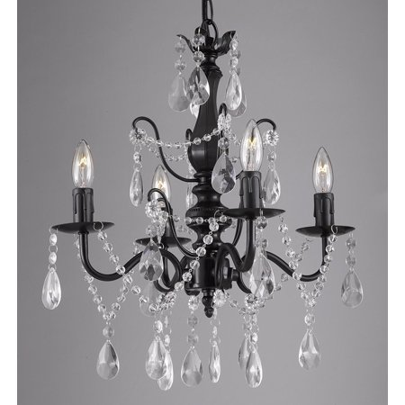 Wrought Iron and Crystal 4 Light Black Chandelier H 14