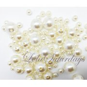 LolaSaturdays Assorted Pearls 1-Lbs loose beads vase filler- Ivory