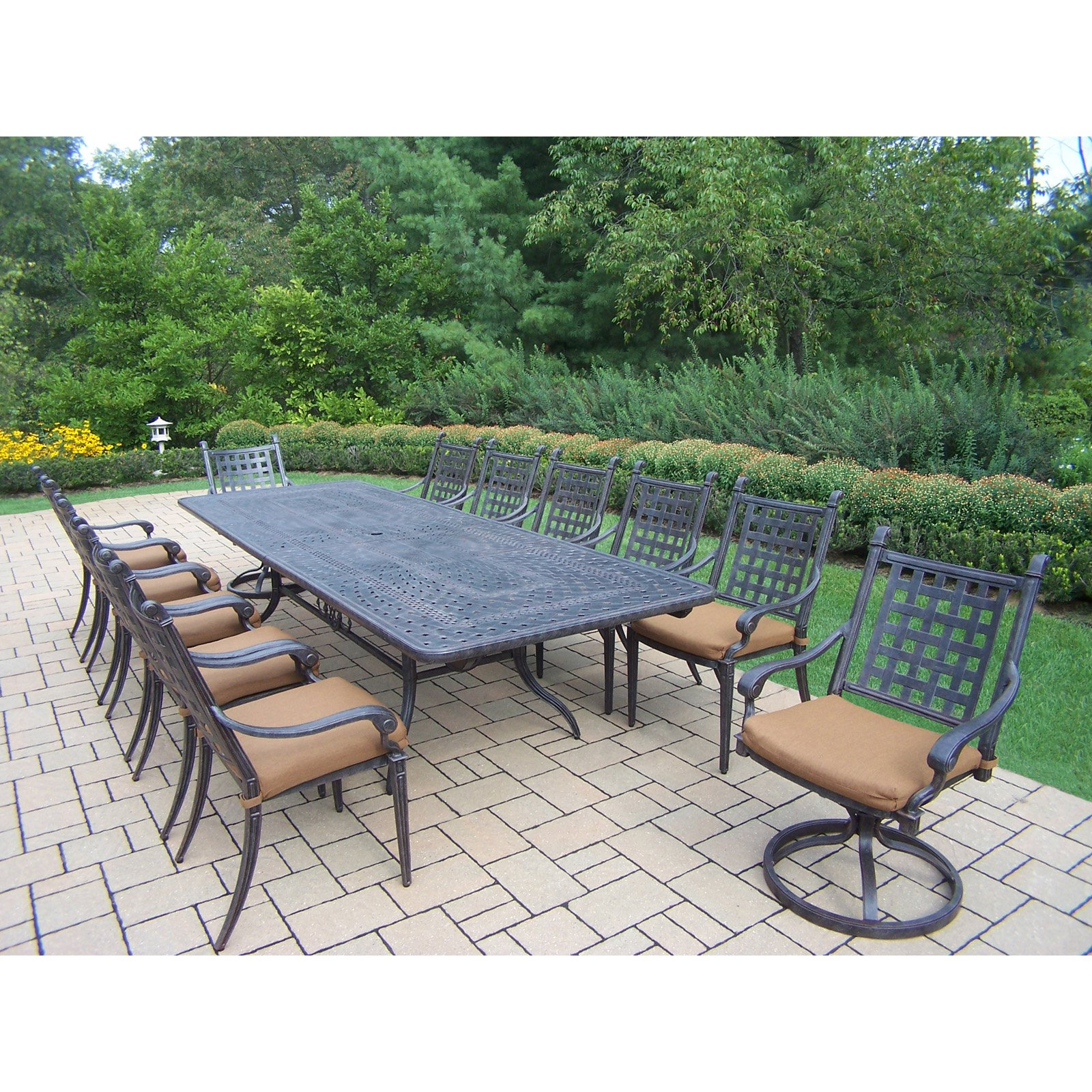 Oakland Living Belmont 13 Piece Extendable Patio Dining Room Set with Stackable and Swivel Chairs by