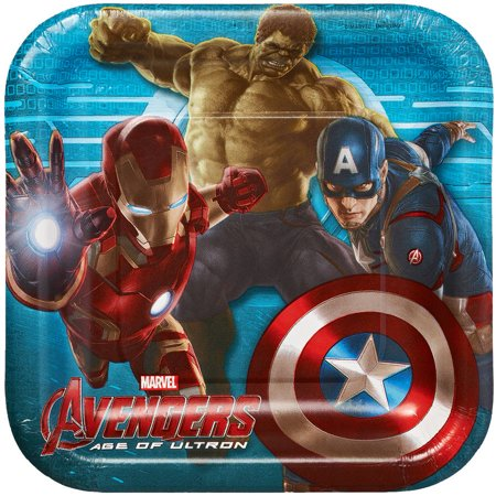 "Avengers 7"" Square Plate, 8 Count, Party Supplies"