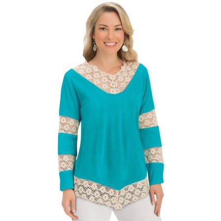 Women's Crochet Lace Trim Long Sleeve Woven Gauze V-Neck Tunic Top Shirt, Xx-Large, Turquoise Crochet Trim V-neck Top