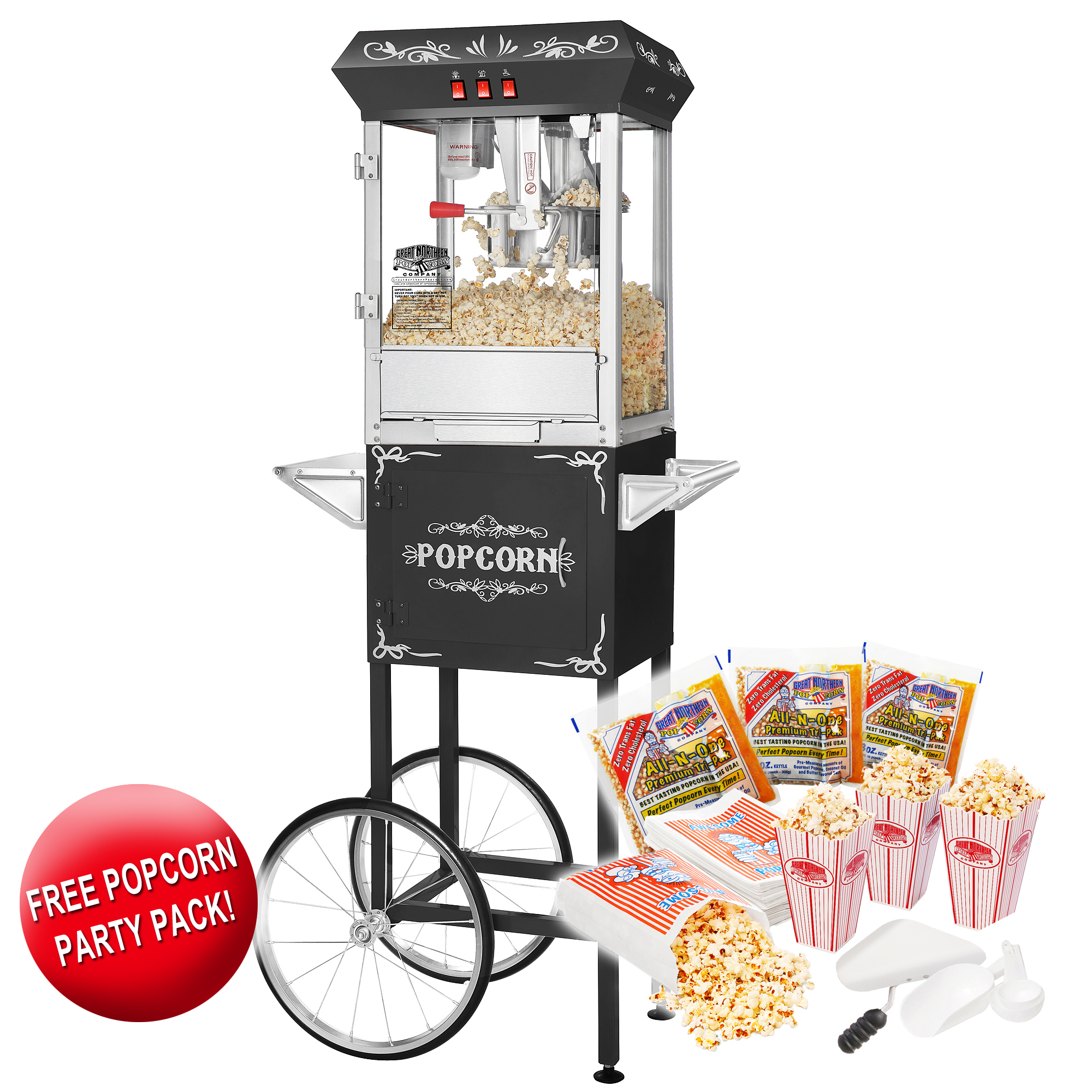 Great Northern Popcorn Black Foundation Popcorn Popper Machine Cart 8 Ounce 8 oz