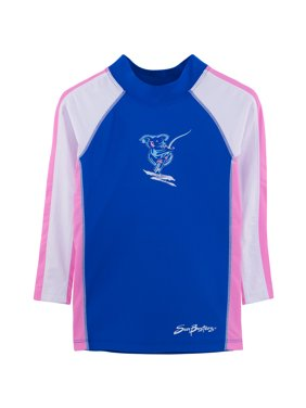 SunBusters Girls L/S Rash Guard(UPF 50+), Buttercup, 6/12 mos