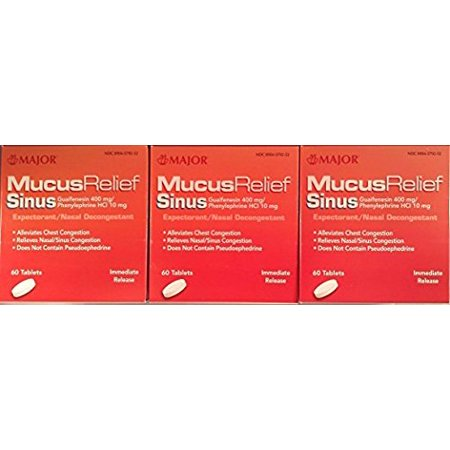 Phenylephrine Nasal Decongestant (Mucus Relief PE Guaifenesin 400 mg Expectorant and Phenylephrine 10 mg Nasal Decongestant Generic for Mucinex Sinus Tablets 60 ea. Per Bottle Pack of 3 Total 180 Tablets)