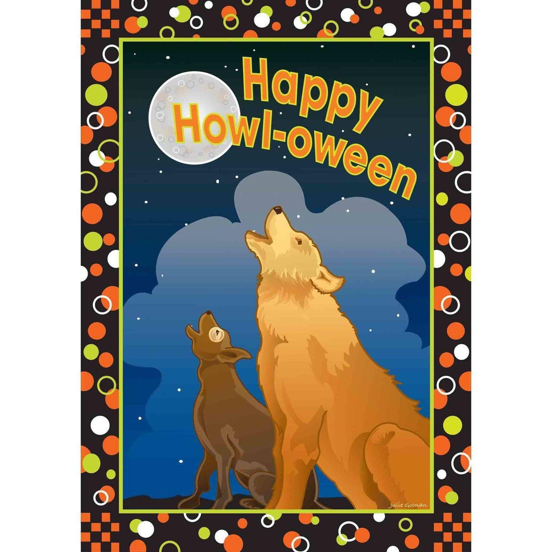 Colorful Garden Happy Howl-O-Ween Garden Flag