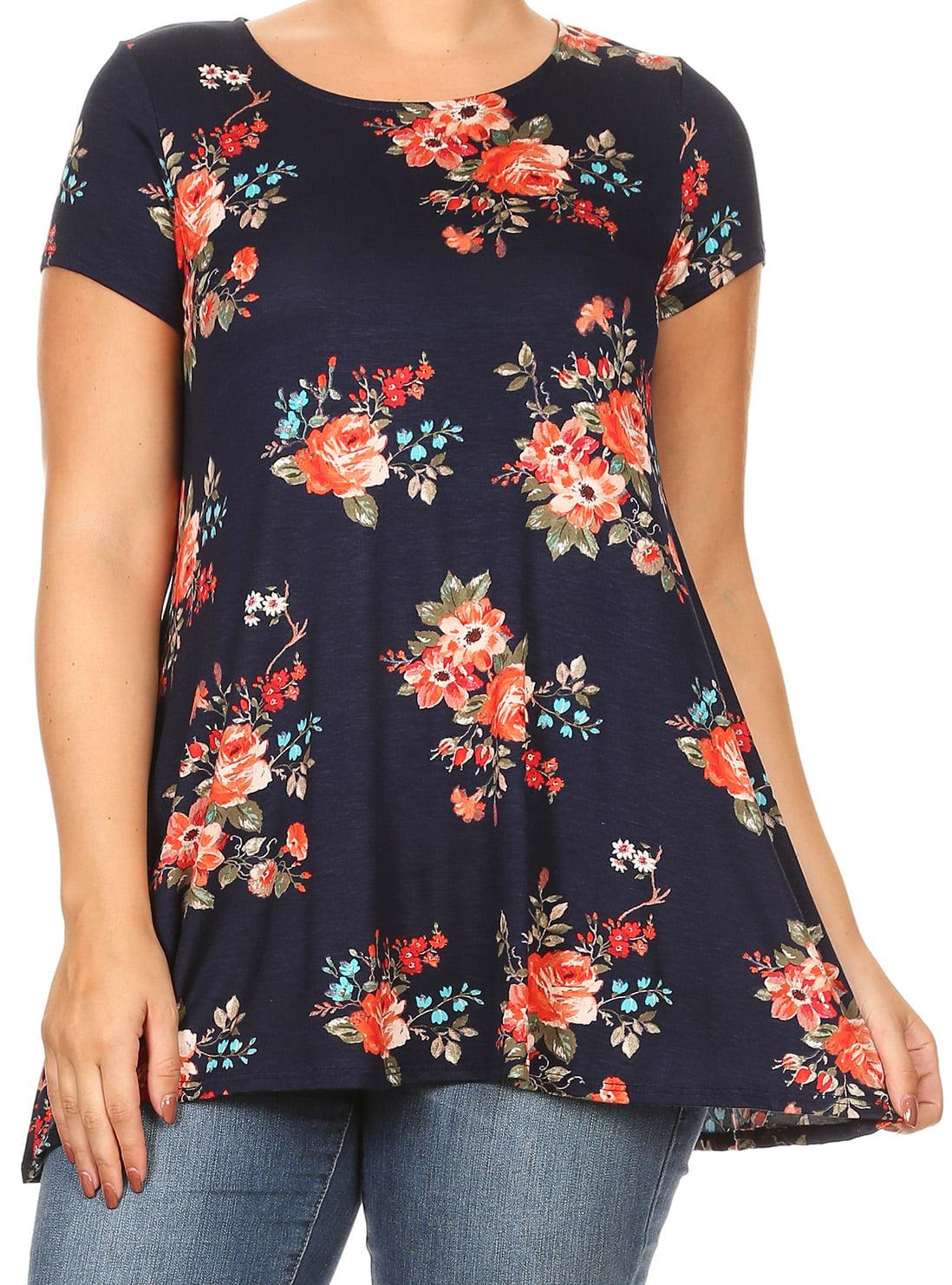 Women Plus Size Short Sleeve Floral Print Asymmetric Tunic Knit Top Tee Shirt Navy XL B0216