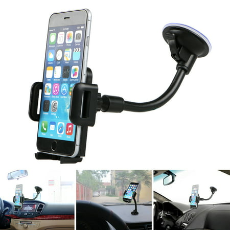 TSV Universal Car Windshield Dashboard Suction Cup 360 degree Mount Holder Stand for Cellphones iPhone (Arkon Universal Cell Phone Pedestal)