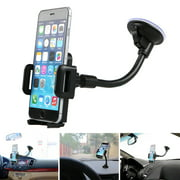 TSV Universal Car Windshield Dashboard Suction Cup 360 Degree Mount Holder Stand for Cellphones iPhone Android, Long Arm Car Phone Holder with One Button Release Clamp Windscreen Car Cradle
