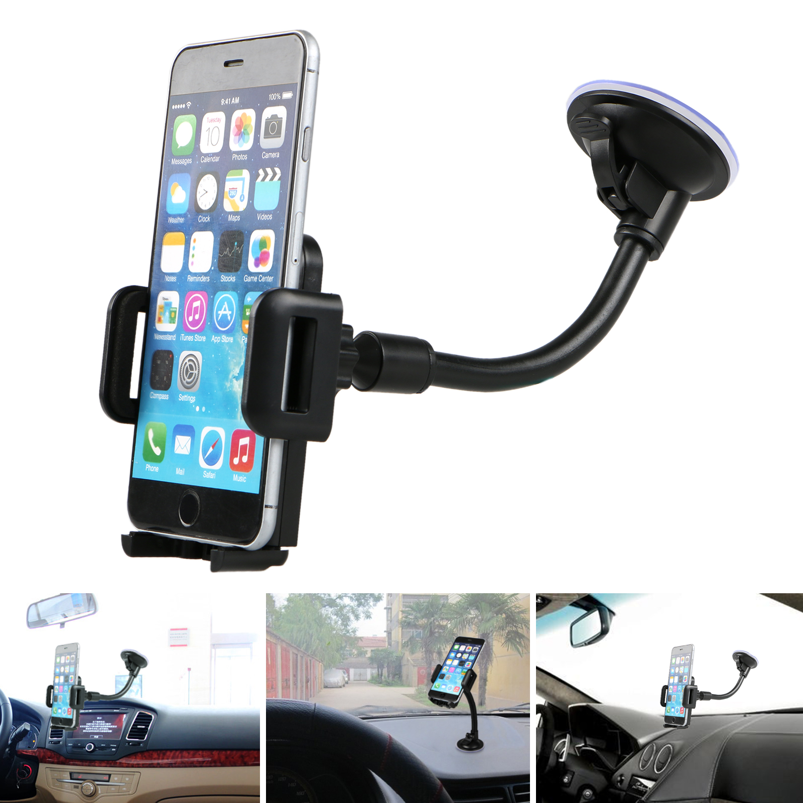 Strong Sticky Gel Black Universal Compatible with iPhone Xs Max XR X 6S 7 8 Plus Galaxy Note 9 S9 GPS etc. Cell Phone Holder for Car Dashboard 360 Degree Rotatable Car Phone Mount Cradle