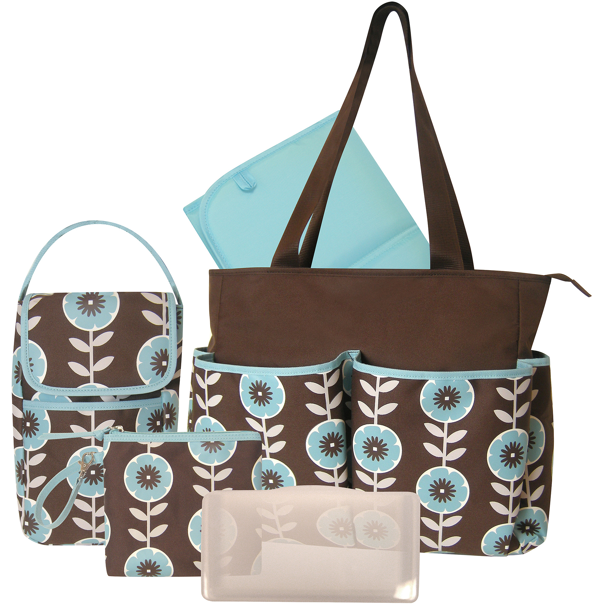 Baby Essentials Floral 3 Piece Diaper Bag Set with Bonus Bottle Bag
