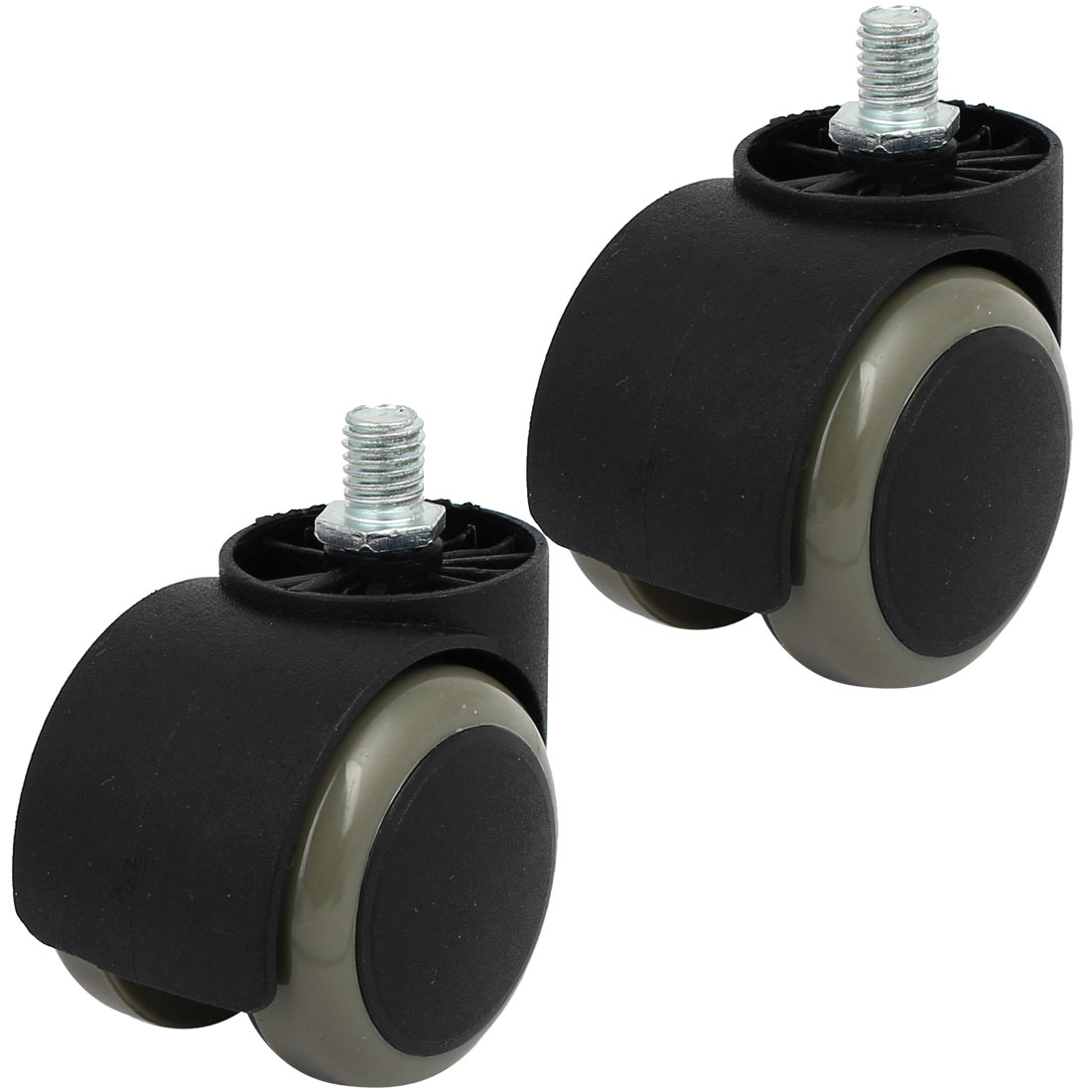 "Office Chair PU Twin Wheel Threaded Stem Swivel Caster M10 Thread 2"" Dia 2pcs"