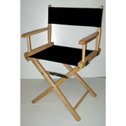Canvas Director's Chair w Natural Frame - 18 in. Seat Height (Navy Blue)