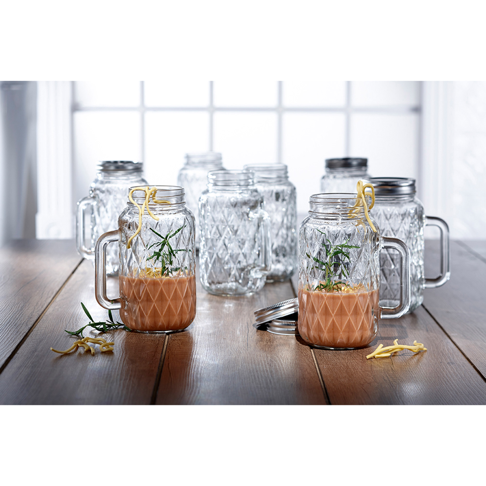 Quilted, Mason Jars, Set of 8 with Handle, 2.5\
