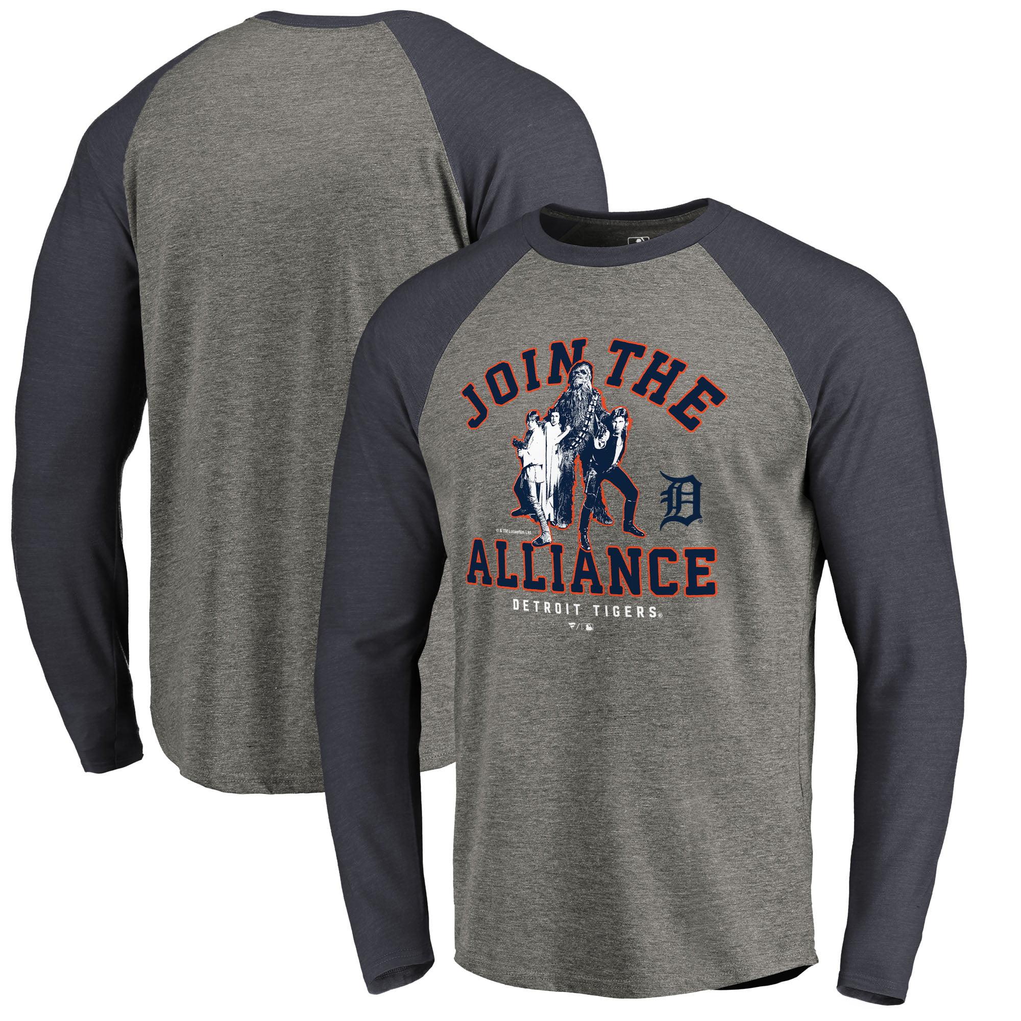 Detroit Tigers Fanatics Branded MLB Star Wars Join The Alliance Raglan Long Sleeve T-Shirt - Heather Gray