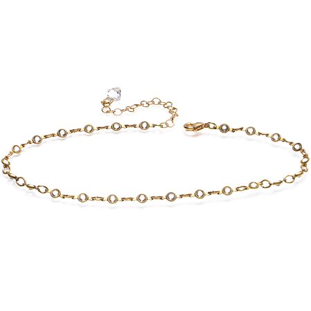 Body Candy Handcrafted Gold Plated Shimmer Chain Ankle Bracelet Created with Swarovski Crystals 11""