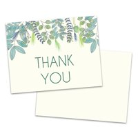 Personalized Teal Botanical Thank You Card