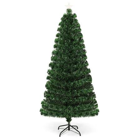 Costway 5Ft Fiber Optic Christmas Tree 175 Multicolor LED Lights ()