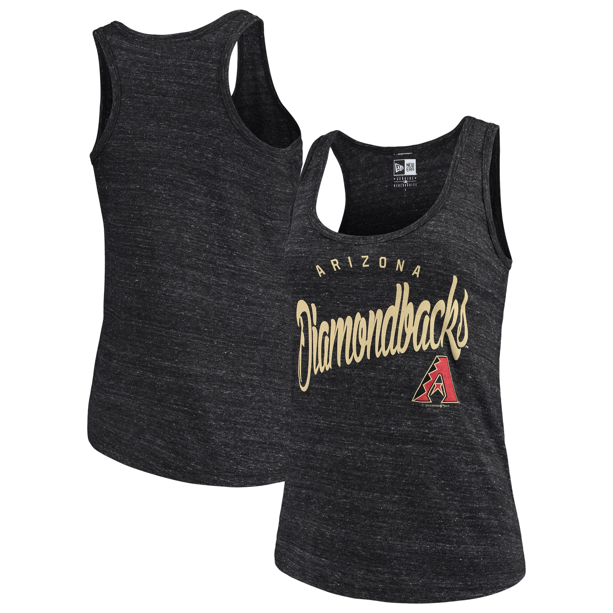 Arizona Diamondbacks 5th & Ocean by New Era Women's Tri-Blend Racerback Tank Top - Black Onyx